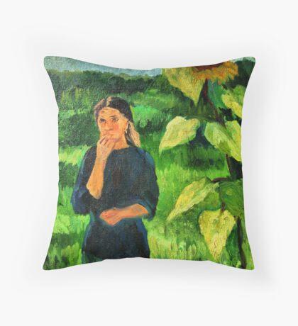 Sunflower girl Throw Pillow