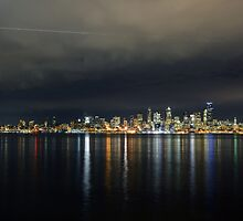 Flight Path Over The Seattle Skyline by Jennifer Hulbert-Hortman