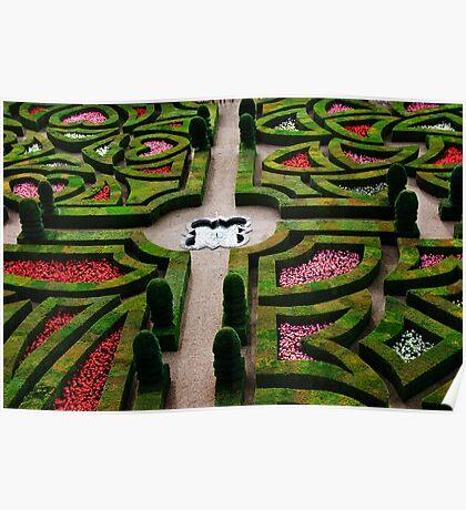 Formal Garden - Chateau Villandry, Loire Valley 3 Poster