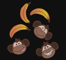 Cute happy monkey and bananas Kids Clothes