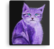 Unique painted purple cat with blue eyes Metal Print