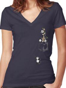 POCKET PANDAS Women's Fitted V-Neck T-Shirt