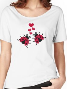 Ladybugs in love hearts Women's Relaxed Fit T-Shirt