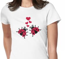Ladybugs in love hearts Womens Fitted T-Shirt