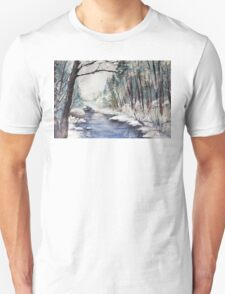 Beginning of Winter at River in Mountains Unisex T-Shirt