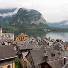 Evangelical Church of Christ and rooftops of Hallstatt by Yair Karelic