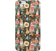 floral pattern with owls iPhone Case/Skin