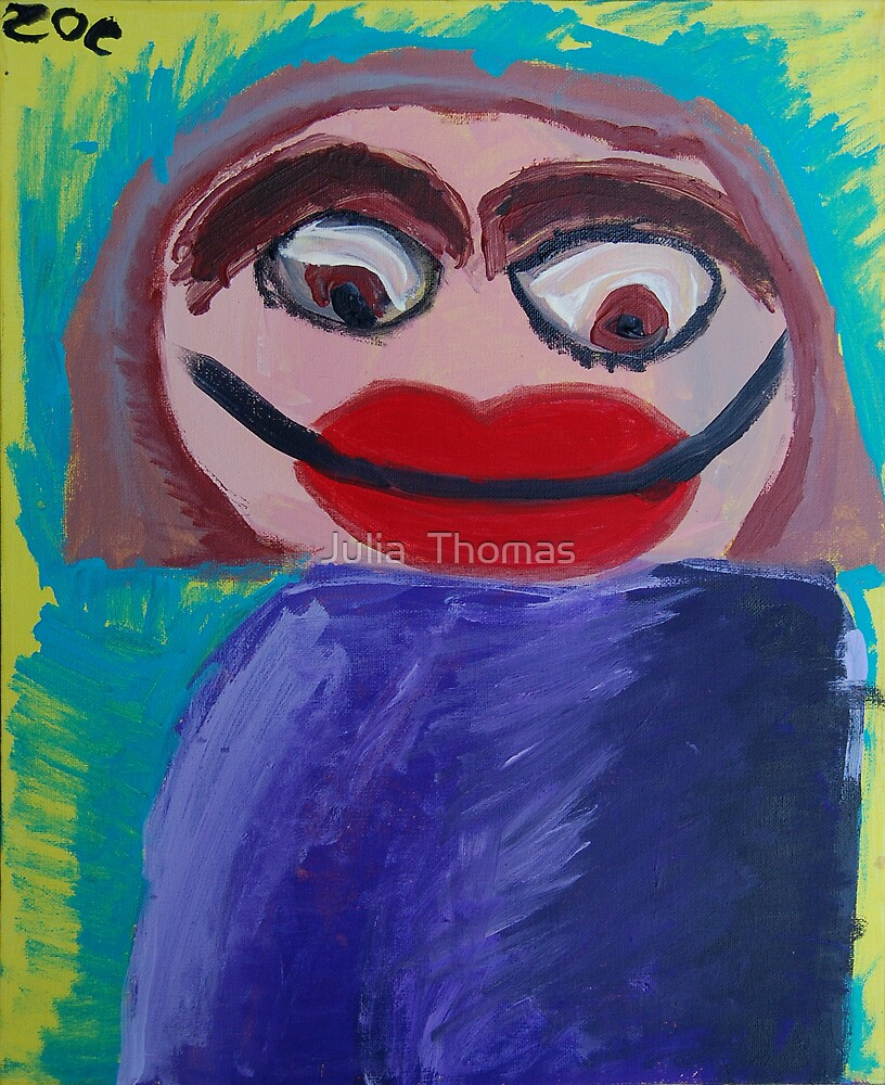 Self Portrait by Zoe Thomas aged 6 by Julia  Thomas