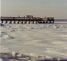 Narragansett Bay frozen over by Scott Curti
