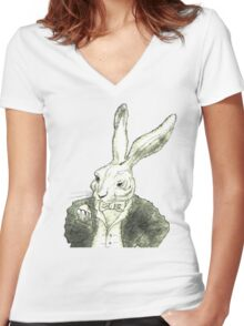 Rabbit and His Golden Watch Women's Fitted V-Neck T-Shirt