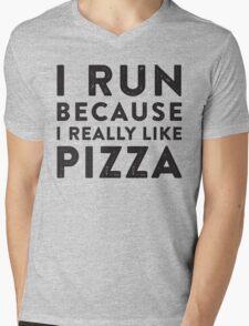 I Run Because I Really Like Pizza Mens V-Neck T-Shirt