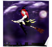 Witch on a broomstick flying in the night Poster