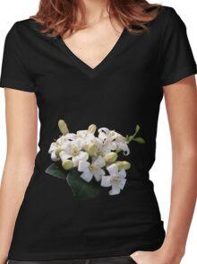 White Blossom Women's Fitted V-Neck T-Shirt