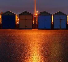 Beach Huts After Dark by Diado