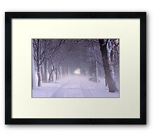 Snowy Winter Alley in Park Framed Print
