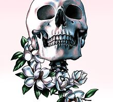 Skull & Magnolia Flowers by Jessica Bone