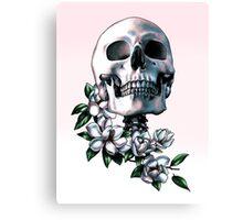 Skull & Magnolia Flowers Canvas Print
