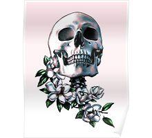 Skull & Magnolia Flowers Poster