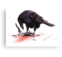 Crow, Bloody Snow 2 Canvas Print