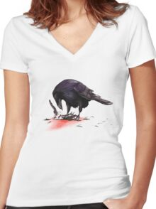 Crow, Bloody Snow 2 Women's Fitted V-Neck T-Shirt