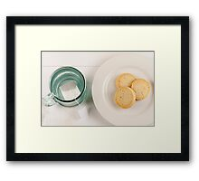 Looking down on tea and cookies Framed Print