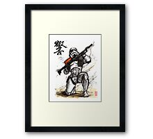 Stormtrooper with calligraphy Framed Print