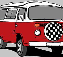 Red Vee Dub Bus by MartinSpayne