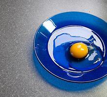 Egg on a Blue Plate by Greg Birkett