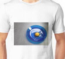 Egg on a Blue Plate Unisex T-Shirt