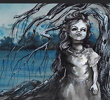 old doll with weeping willow,watercolor and ink painting, creepy doll art, goth, dark by resonanteye