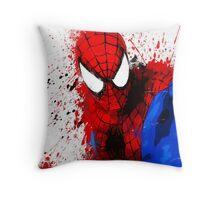 """""""Spider-Man"""" Splatter ARt Throw Pillow"""