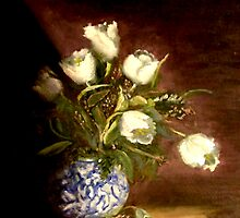 White Tulips In A Chinese Vase by Monica Vanzant