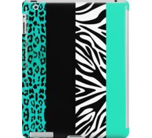 Aqua Blue Zebra and Leopard Animal Print Stripes iPad Case/Skin