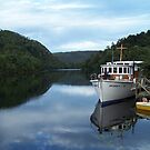 Boat on the Pieman River, Western Tasmania by Jodi Turner
