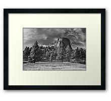Indian Devil's Tower BW Framed Print