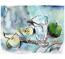 GLASS OF WATER AND CUT APPLES(C2004) Poster
