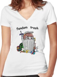 Fandom Trash Logo Women's Fitted V-Neck T-Shirt