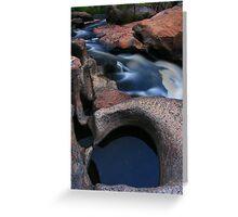 Black pond white water. Greeting Card