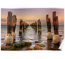Old jetty at low tide - Clifton Springs Poster