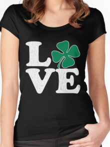 Cute! Love St. Patty's Day (vintage distressed look) Women's Fitted Scoop T-Shirt