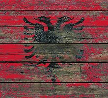 Flag of Albania on Rough Wood Boards Effect by Jeff Bartels