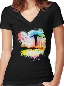 The Psychedelic Zombie Women's Fitted V-Neck T-Shirt