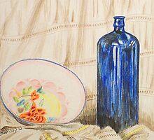 Still-life with blue bottle by Alan Hogan