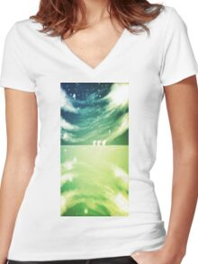 Mirrored Grounds Women's Fitted V-Neck T-Shirt