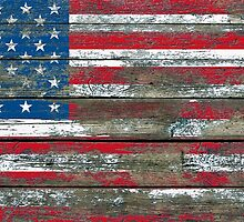 Flag of United States on Rough Wood Boards Effect by Jeff Bartels