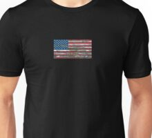 Flag of United States on Rough Wood Boards Effect Unisex T-Shirt