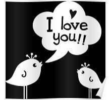 Love Birds White Poster