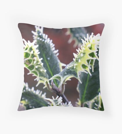 Frosted Holly Throw Pillow