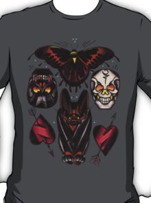 old school moth, bat, skulls and heart tattoo flash shirt T-Shirt