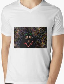 Psychedelically Glowing Spider Webs & Garden Critters Mens V-Neck T-Shirt